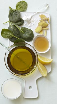 Spinach, Kale & Olive Oil Mask for soft skin. Olive Oil and Lemon Hand Treatment