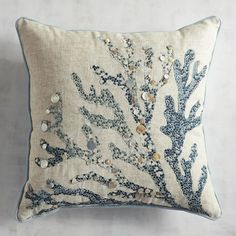 Bring home a bit of the beach vibe you love. Our shimmery capiz coral design has an elegant earthiness, thanks to its neutral color palette and a touch of linen. Now your sofa& practically a vacation spot. Coral Pillows, Throw Pillows, Cushion Embroidery, Embroidered Cushions, Coral Design, Coastal Bedrooms, Coastal Bedding, Pillow Texture, Beach House Decor