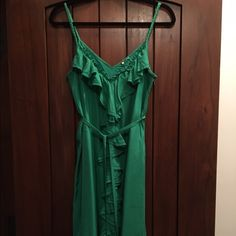 SALETommy Hilfiger The Prep World silk dress LIMITED EDITION 100% silk preppy green dress from his Prep World capsule collection. Braided straps, ruffle front, gorgeous green color. Worn one time for event. Final sale price Tommy Hilfiger Dresses Midi