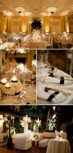 cute use of bands of black on table accessories and linens to tie the black-and-white look together