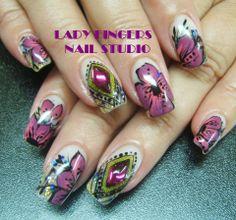 nails, nail art, one stroke flowers, bling, bullion, hand painted nail art, spring, fancy, funky