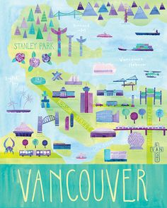 Vancouver - nice print with fresh colours! Trying to find out who the artist is, so if any local peeps happen to know please leave me a comment.