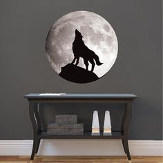 Wolf Decal Wolf Wall Decal Howling Wolf Moon Decal by PrimeDecal