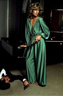 Farrah , in Halston |Pinned from PinTo for iPad| 70s green jumpsuit dress gown photo color print ad model magazine