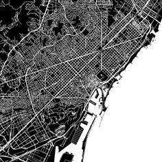 Barcelona, Spain, downtown vector map.  Art print pattern. White streets, railways and water on black. Bigger bridges with outlines. This map will sho... ... #map #downloadable #background #vector #design