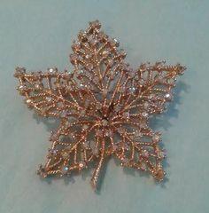 Vintage Brooch signed Weiss Gold tone Leaf, Aurora Borealis Rhinestones