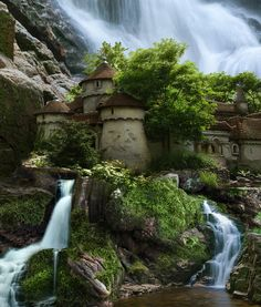 Waterfall Castle, Poland- Now this looks like its out of a fairytale!