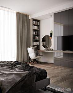 Modern apartment interior design Lviv on Behance Bedroom Bed Design, Bedroom Furniture Design, Modern Bedroom Design, Home Room Design, Home Decor Bedroom, Modern Interior Design, Bedroom Ideas, Bedroom Apartment, Contemporary Interior
