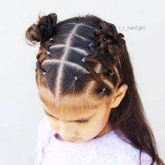 I love this style! I did crossed elastics into messy buns. I loved the little top buns did in a recent video, so I added my own style to that. I did messy buns (because I love how the look on her) instead, & because her hair is recentl Lil Girl Hairstyles, Princess Hairstyles, Braided Hairstyles, Toddler Hairstyles, Black Hairstyles, Summer Hairstyles, Toddler Hair Dos, Teenage Hairstyles, Hairdos