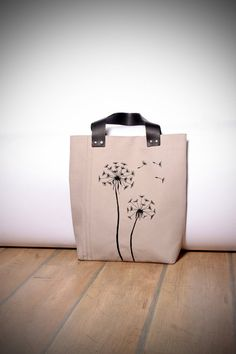 Dandelion canvas tote. Embroidered summer bag leather by 5plus, $65.00