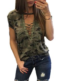 00052c6e4ff3c 2017 Sexy T-Shirt Ladies Loose Bandege Camo Tee Women Camouflage V Neck  Lace Up Halter Top Shirt Tracksuit Female Sudadera-Enso Store-as shown-L-Enso  Store