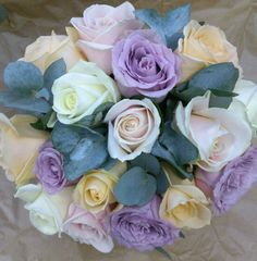 Bride's Bouquet. Sweet Avalanche, Peach Avalanche, Cream Avalanche and Dancing Clouds roses with Eucalyptus