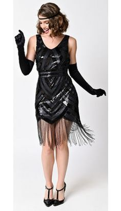 Vintage 1920s Style Black Sequin Beaded Deco Fringe Flapper Dress