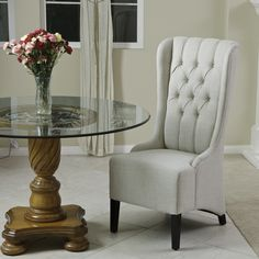 Noble House Champion Tufted Fabric Dining Chair In Light Beige - Beyond the Rack Tufted Dining Chairs, Tufted Chair, Fabric Dining Chairs, Chair And Ottoman, Chair Upholstery, Daisy, Single Chair, Contemporary Chairs, Modern Chairs