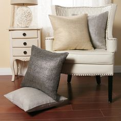 Aurora Home Metallic Weave 18-inch Decorative Pillows (Set of 2)