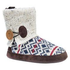 Women's Muk Luks Patti Fair Isle Sweater Knit Bootie Slippers - White M, Size: Medium