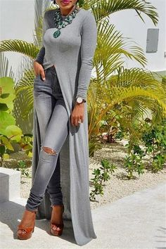 22e7372e4e6 Women Clothing This long dress with high slit is perfect for wearing over  jeans or pants on those days when you want to look stylish but you want to  feel ...