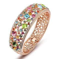 Qianse Multicolor Austrian Crystals Cuff Bracelet, Rose Gold Plated Filigree Bangle, Women Jewelry >>> You can get additional details at the image link.