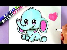 How to Draw a Cartoon Elephant - Cute Art - Easy Drawings - Fun2draw - YouTube