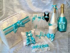 Купить Аксессуары для бирюзовой свадьбы с кружевом - бирюзовый, бирюзовые аксессуары, свадебные аксессуары, бирюза