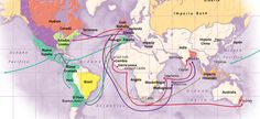 Mapa planisferio que ilustra la colección de mapas con tema histórico