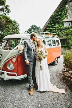 Orange VW van wedding car | onefabday.com