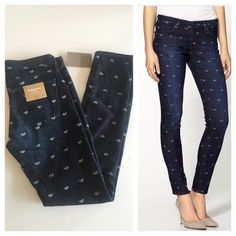 """Anthro AG Stevie Ankle Heart Print Jeans 🎉HP🎉 Anthro Adriano Goldschmied Prettily heart patterned cropped jeans. Perfect with a chunky sweater and ankle boots. 5 pocket styling. 7.25"""" rise. Waist measures 14"""", hips 17"""", inseam 28.5"""". Brand new with tags! Anthropologie Jeans Skinny"""