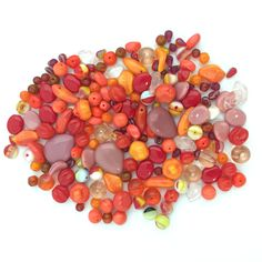 5-20mm Assorted Czech Pressed Glass Bead Mix Orange Red Pink