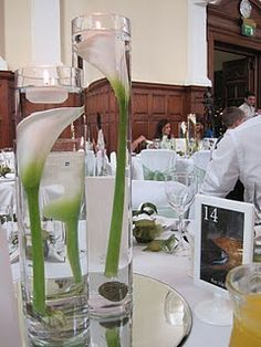 Table Centres - Submerged Calla Lilies