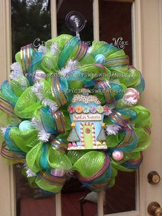 Santa's Sweets Wreath, Candy, Christmas Wreath, Holiday Wreath, Winter Wreath, Deco Mesh, Door Wreath,