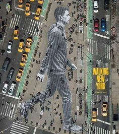 "JR's street art featuring a gigantic man walking in NYC graces the cover of ""The New York Times Magazine."" April Walking New York 3d Street Art, Amazing Street Art, Street Art Graffiti, Street Artists, Amazing Art, New York Street Art, Street Work, Street Mural, Urbane Kunst"
