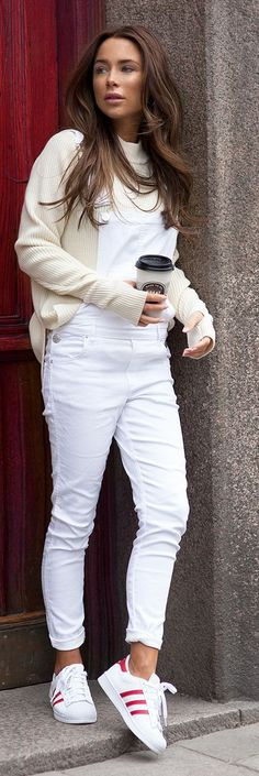 White Overalls Outfit Idea