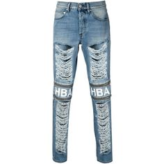 Hood By Air distressed zip detail slim jeans Mantovani ($731) ❤ liked on Polyvore featuring jeans, destructed skinny jeans, torn skinny jeans, slim cut jeans, slim jeans and destroyed jeans