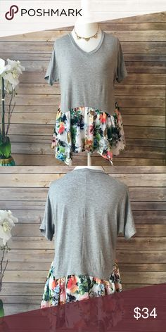 """✨NEW ARRIVAL✨""""Bloom! There It Is"""" Floral Peplum T """"Bloom! There It Is"""" Floral Peplum Tee Is The Perfect Addition To Your Closet For Spring! Feminine, Floral & Fun! Fashionomics Tops Tees - Short Sleeve"""