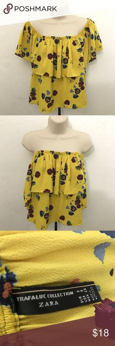 ZARA Floral Print Off the Shoulder Crop Top Zara Trafaluc Collection 97% Polyester 3% Elastane EUC but like New! No visible sign of wear.  📷: Pinterest (First two photos)   🌸 Comes from a smoke and pet free home. Check my other listings, discount for bundle! Zara Tops Blouses