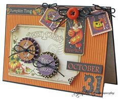 "Try this Place in Time ""October 31"" card with a printable project sheet #graphic45 #projectsheets #tutorials"