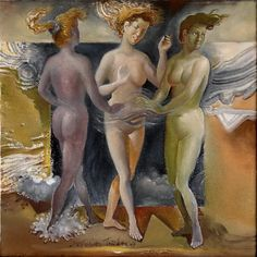 CHARITES - GRACES –   water-colour on especially primed canvas, study. 25Χ25, 2007. ΧΑΡΙΤΕΣ-σπουδἠ- 25Χ25 (ἐφ᾽ὑγροῖς) 2007