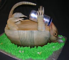 armadillo grooms cake images   Drunk armadillo Armadillo Cake, Sculpted Cakes, Cake Cookies, Cupcakes, Cake Images, Wedding Anniversary, Sculpting, Cake Decorating, Grooms