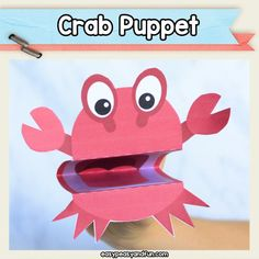 Crab Puppet printable craft template for kids Valentine Crafts For Kids, Summer Crafts For Kids, Halloween Crafts For Kids, Crafts For Kids To Make, Craft Activities For Kids, Preschool Crafts, Art For Kids, Kids Crafts, Crab Crafts