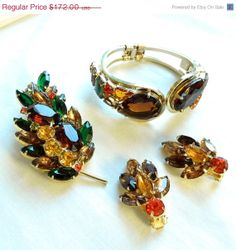 Vintage JULIANA D&E Verified Amber Topaz and Green Clamper Bracelet, Brooch & Earrings Set by MyVintageJewels, $154.80