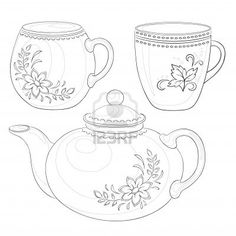 Vector, china teapot and cups with a pattern of flowers and leaves, contours Stock Photo