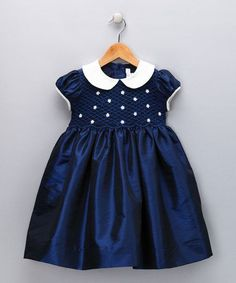 Take a look at this Navy & Ivory Daisy Smocked Dress - Infant, Toddler & Girls by Fantaisie Kids on today! Toddler Dress, Toddler Outfits, Baby Dress, Kids Outfits, Infant Toddler, Toddler Girls, Frocks For Girls, Kids Frocks, Little Girl Dresses