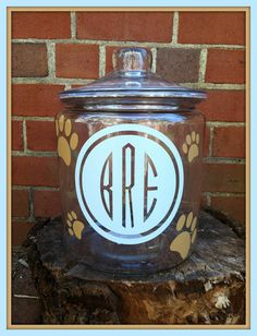 Personalized Dog Treat Jar Monogrammed Dog by SouthernInitials, $30.00