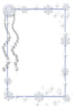 Large Christmas Transparent PNG Ice Photo Frame with Pearls