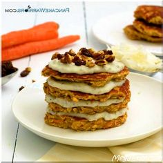 These healthy gluten free carrot cake pancakes are the perfect weekend breakfast.