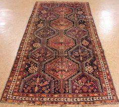 4 x 10 ANTIQUE PERSIAN QASHQAI Tribal Hand Knotted Wool RUST Oriental Rug RUNNER #AntiquePersianQashqaiTraditionalTribal
