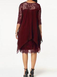 241975bccc0 Women s Plus Size Going out Slim Sheath Chiffon Dress - Solid Colored Lace  Spring Navy Blue Wine XXXL XXXXL XXXXXL