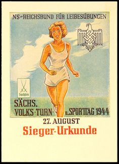 """1944, color victor document from Saxon ethnic Camouflaged and sports day 27. August, Heraugeg. From """"German Empire alliance for PHYSICAL EDUCATION"""","""