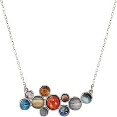 Jerseymaids DBA Yugen Tribe LLC Solar System Bubble Bib Necklace (£43) ❤ liked on Polyvore featuring jewelry, necklaces, tribal jewelry, planet necklace, chain bib necklace, tribal necklaces and bubble bib necklace