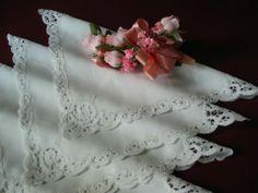 Vintage White Linen Italian Cantu Lace Napkins Set of 10